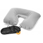 Shrih Inflatable Air Cushion, Eye Mask and 2 Ear Plug Neck Pillow(Multicolor)