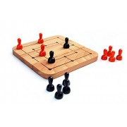 MAYA ORGANIC Handcrafted Wooden Toy: 5-in-1 Strategy Board Game : Six Men's Morris + 4 Games