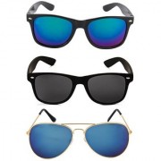 Ivy Vacker Golden Blue Mirrored Aviator Sunglasses (2 Wayfarers Free)