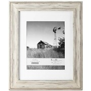 Malden International Designs Whitman White Wash Matted Wood Picture Frame, 8 by 10-Inch