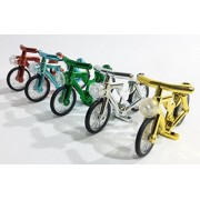 5 Pack LEGO Compatible Chrome Bicycles Bikes by Brick Loot - Red - Green - Blue - Silver - Gold