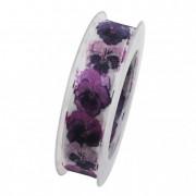 Szalag virággal textil 25mmx8m lila