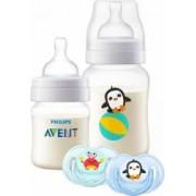 Set cadou anti-colic cu 2 biberoane Philips 125ml si tetina cu debit nou-nascut respectiv 260 ml