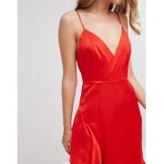 Fame and Partners Matte Satin Gown with Frill Detail - Red