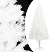 vidaXL Изкуствена коледна елха със стойка, бяла, 150 см, PE