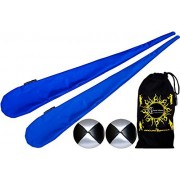Flames 27N Games Poi Flames N Games Sock Poi Set (BLUE) Pair of Quality Stretchy Lycra Spinning Poi Socks + 2x90g Balls & Travel Bag.