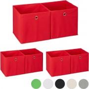 relaxdays 6x opbergbox - stof - opvouwbaar - speelgoed - opbergmand - opbergen - rood