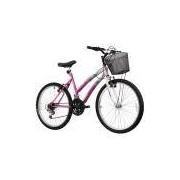 Bicicleta Track Bikes Aro 24 - 18 Marchas Parati Juvenil Rosa e Branca