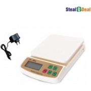 Stealodeal 7kg Digital Multi-Purpose Kitchen With Adapter Weighing Scale(Off white)