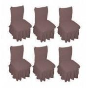 Set 6 huse elastice bicolore/gofrate cu bumbac cu volan pentru scaun TRADE STORE DELIVERY Bumbac si Poliester Bej Cacao cu Lapte
