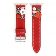 Flower Decor Genuine Leather Watch Strap Wrist Band Replacement for Apple Watch Series 4/5 44mm / Series 1/2/3 42mm - Red