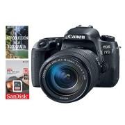 Canon Cámara Canon EOS 77D EF-S 18-135mm f/3.5-5.6 IS USM + Tarjeta SDHC de 16GB UHS-1, Negro.