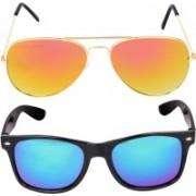 Aligatorr Wayfarer, Aviator Sunglasses(Golden, Black)