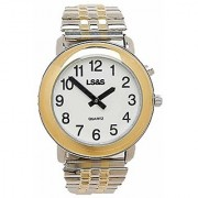 LS&S Talking Watch 1-Button White Face Two-Tone Case & Flex Band - Mens