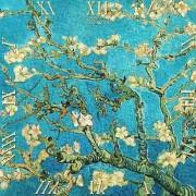 D.I.19-24 Üveg falióra 30x30cm, Van Gogh: Mandulavirágzás