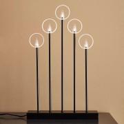 Gabriel candleholder, five-bulb, black and gold