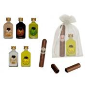 Botella licor orujo con puro chocolate en bolsa de organza
