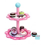 Childrens Wooden Play & Pretend Food Set, Cupcake Stand with Desserts Set! Wood Play Food- Desserts
