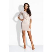 lemoniade Kobieca elegancka sukienka ze splotem beżowy SYDNEE xxl;xxxl