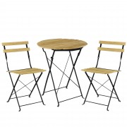 PremiumXL - [casa.pro] Bistro set - okrugli stol sa 2 stolice - vrtni namještaj - boja drveta
