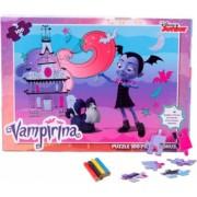 Puzzle 100 de piese Vampirina + bonus 3 foi de colorat + 4 creioane colorate