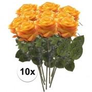 Bellatio flowers & plants 10x Geel/oranje rozen Simone kunstbloemen 45 cm