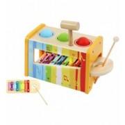 Joc Educational Multifunctional cu Xilofon Cutiuta Ciocan si Bile Multicolore