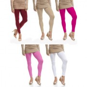 Jakqo Women's Cotton Plain Ankle Length Legging (Free Size Pack of 5 Maroon Tan Pink Baby Pink White)