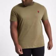 River Island RI Big and Tall - Donkergroen T-shirt met borduursel Heren
