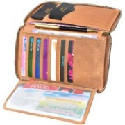 ABYS Durga Puja Special -Genuine Leather Passport Holder||Credit Card Holder||Travel Wallet with Metallic Zip Closure(Brown)