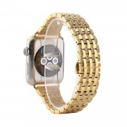 Aluminum Alloy Strap Watch Band Rhinestone Decor for Apple Watch Series 5/4 44mm / Series 3/2/1 42mm - Gold