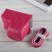 Full Body Camara Caja De Cuero De La PU Bolsa Con Correa Para Sony A6000 (magenta)