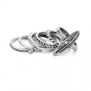6pcs Bohemian Joint Knuckle Rings Vintage Nail Ring Set for Hands Decorations (Silver)