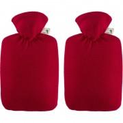 Merkloos 2x Fleece kruiken rood 1,8 liter met hoes