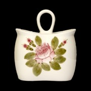 V.K.44-13 Romantik rózsás álló fakanáltartó,kerámia,kézzel festett