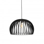 QAZQA Art Deco Round Pendant Lamp Black Wood 50cm - Twain
