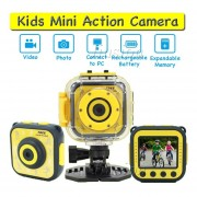 Mini HD niños acción cámara Digital deporte videocámara impermeable funda bicicleta Micro cámara Video grabadora DV chico regalo(#Amarillo)(#plus 16GB TF Card)