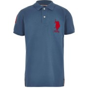 River Island Boys Blue U.S. Polo Assn polo shirt (8-9Yrs)