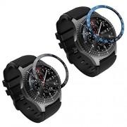 MoKo 2 anillos de bisel compatibles con Samsung Gear S3/Galaxy Watch 46 mm, carcasa adhesiva para reloj inteligente de 46 mm, protector de acero inoxidable antiarañazos, compatible con Samsung Gear S3 y Galaxy Watch 46 mm