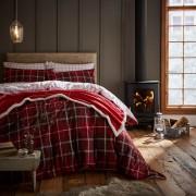 Catherine Lansfield Tartan Check Duvet Set - Red - Single - Red