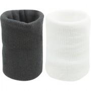 Neska Moda Unisex Black And White Pack Of 2 Cotton Wrist Band