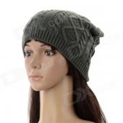 El otono y el invierno que hace punto caliente de moda del sombrero de las lanas de las mujeres - Gris