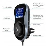TeckNet F10039 Bluetooth FM Transmitter - блутут FM трансмитер с поставка и зарядно за кола за мобилни устройства (черен)