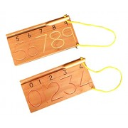 Kido Toys - Mathematics - Number Stencils - Learn Number Shapes by tracing The Wooden Pencil on The grooved Numbers