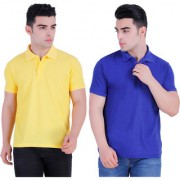 Stars Collection Men's Cotton Polo T- Shirt Comfortable and Stylish T-Shirts with Half Sleeves Yellow and Neavy Blue