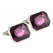Mousie Bean Crystal Cufflinks Large Rectangle 085 Amethyst