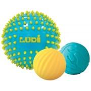 Set 3 mingi senzoriale cu tepi, pentru dezvoltarea simturilor tactile,motorii si vizuale ale bebelusului Ludi Bleu
