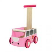 Plan Toys Drewniany chodzik, pchacz żółty van walker - jeździk w kształcie samochodu,