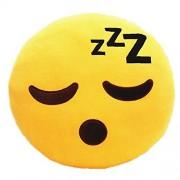 Funny Teddy Emoji Smiley faces decor cushion/pillow (Sleeping expression) - 35 cm