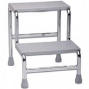 scaletta predellino in acciaio cromato - 2 gradini in plastica - porta